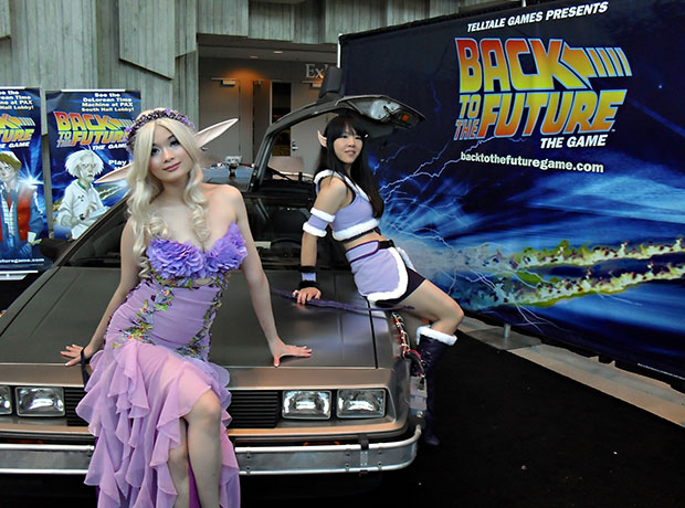 Heather Wang and I pose next to the DeLorean from Back to the Future.
